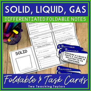 States Of Matter Solid Liquid Or Gas Foldable And Task Card Activity