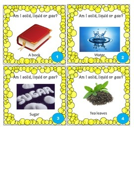 Solid, Liquid or Gas Task Cards