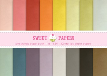 Solid Rainbow Grunge Digital Paper Pack - by Sweet Papers