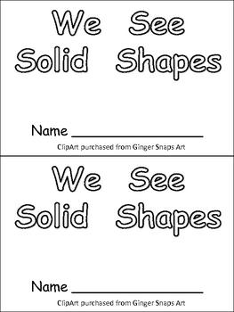 Solid Shapes Kindergarten Emergent Reader- 3-d shapes and color words