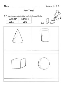 Solid Shapes Practice Pages Name, Sort, Describe 6 pages