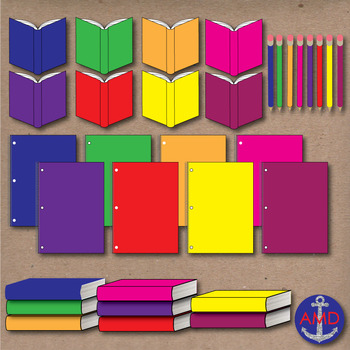 Solid, Striped and Glitter Classroom Items Bundle- books, notebooks, pencils