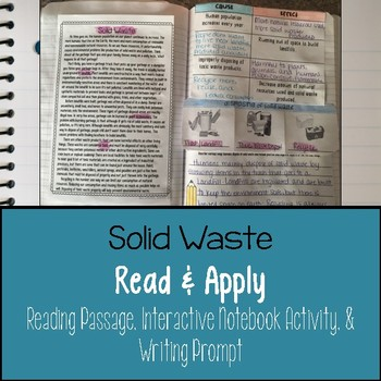 Solid Waste Reading Comprehension Interactive Notebook