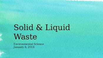 Solid and Liquid Waste Management - Environmental Sci