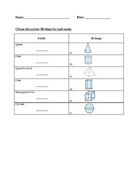 Solid figures worksheet