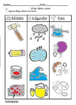 Solido Liquido y Gas Spanish Sorting Worksheet Science C-s