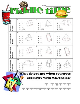 Solids: Bases, Faces, Edges & Vertices Riddle Time