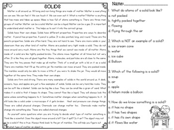 Solids Differentiated Reading Passages