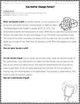 States of Matter Nonfiction Article Worksheet Packet