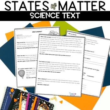 States of Matter Reading Worksheet Packet