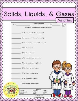 Solids, Liquids, Gases Matching