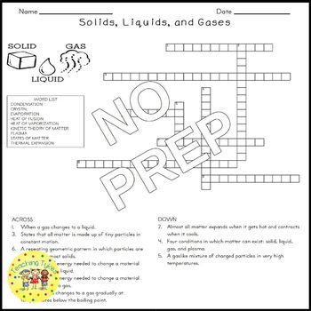 Solids Liquids Gases Crossword Puzzle By Teaching Tykes Tpt