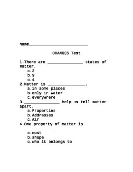 Solids, Liquids, Gases Study Guide and Test