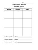 Solids, Liquids, and Gas Sort & Match Worksheet
