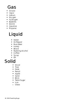 Solids,Liquids,and Gas. w/ answer key