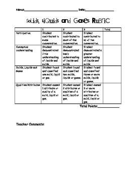 Solids, Liquids and Gases- Oh, My! Rubric