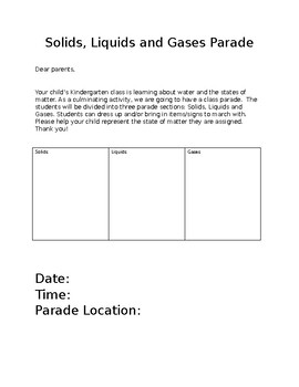 Solids, Liquids and Gases Parade Parent Letter