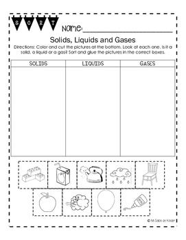 Solids, Liquids and Gases Sort FREEBIE