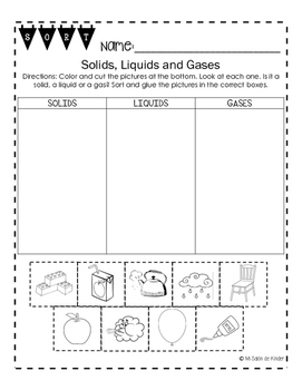 Solids, Liquids and Gases Sort FREEBIE