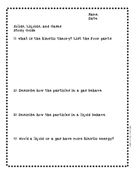 Solids, Liquids, and Gases Study Guide