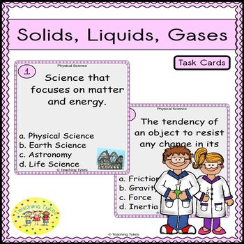 Solids, Liquids, and Gases Task Cards