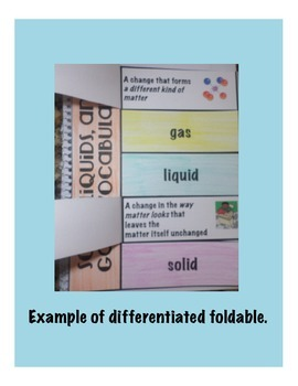 Solids, Liquids, and Gases Vocabulary Interactive Science Notebook Foldable