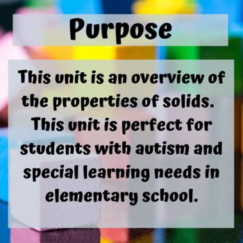 Solids Science Unit for Special Education