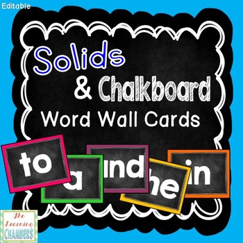 Solids and Chalkboard Word Wall Cards: Editable, Classroom Decor, Sight Words