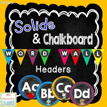 Solids and Chalkboard Word Wall Headers: Editable, Classroom Decor, Alphabet