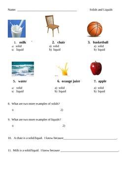 Solids and Liquids Assessment
