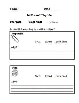 Solids and Liquids (Phases of Matter)- Primary Grade Activities and Assessments
