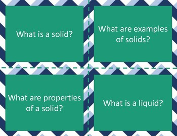 Solids and Liquids Task Cards