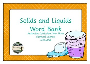Solids and Liquids Word Bank