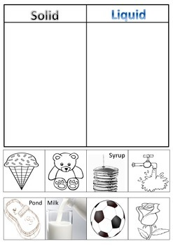 Solids and Liquids - cut and paste worksheet
