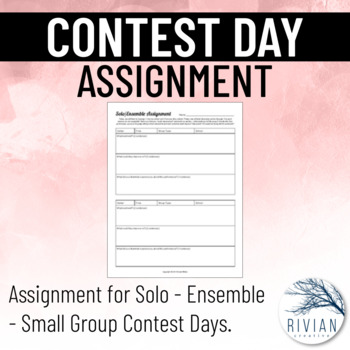 Solo/Ensemble/Small Group Assignment