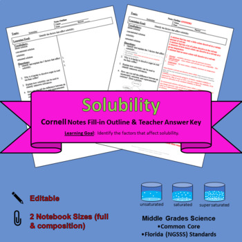 Solubility Cornell Notes #42
