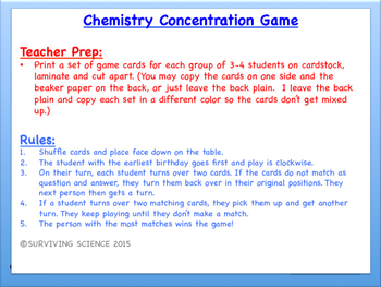 Solubility Factors Chemistry Concentration Game Review