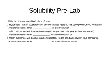 Solubility Lab and Notes on Solubility