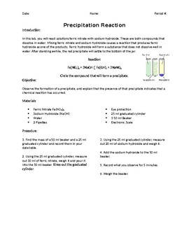 Solubility Precipitation Reaction Laboratory Experiment