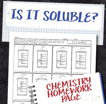 Solubility Prediction Chemistry Homework Worksheet