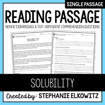 Solubility Reading Passage