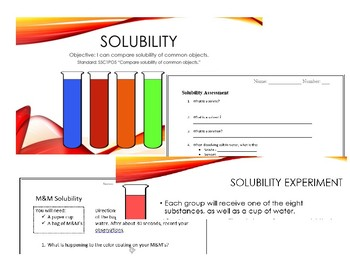 Solubility - Solute, Solvent, Solution Lesson & Activities