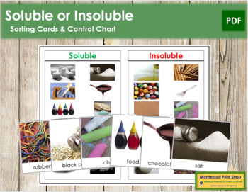 Soluble or Insoluble: Cards & Chart