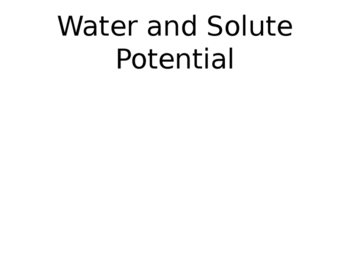 Solute and Water Potential