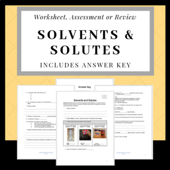 worksheet: Solvent And Solute Worksheets Test 6 Review Key Page 1 ...