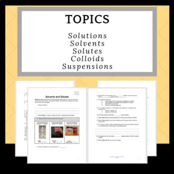Comparing Solutes And Solvents Worksheet Test Prep Or Assessment