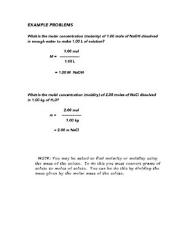 Solution Concentration Worksheet:  Molarity and Molality