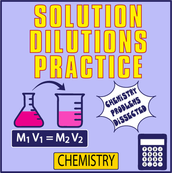 Solution DILUTIONS Worksheet ~VARIETY OF PROBLEMS + KEY~  Chemistry