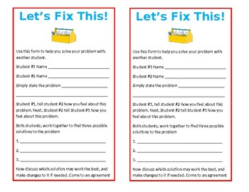 Solution Finding Form for Disagreements - Let's Fix This!