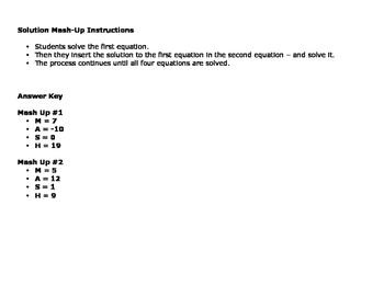 Two Step Equations: Solution Mash - Up